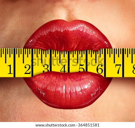 Weight loss concept with woman lips biting into a tape measure and diet food symbol as a metaphor for fitness and living a healthy low fat lifestyle with exercise and nutrition. - stock photo