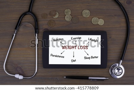 Weight Loss conceptr. Text on tablet device on a wooden table - stock photo