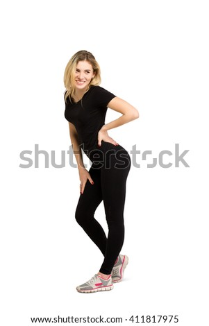 Weight-loss, diet concept - slim thin athletic, attractive, sexual young beautiful blonde woman shows her good shape isolated at white background - stock photo