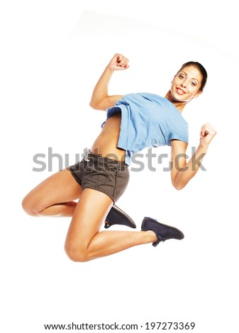 Weight loss fitness woman jumping of joy. - stock photo