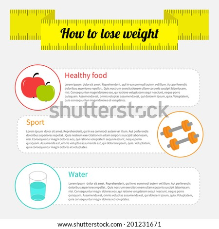 Weight loss infographic. Healthy food, sport fitness, drink water.  - stock photo