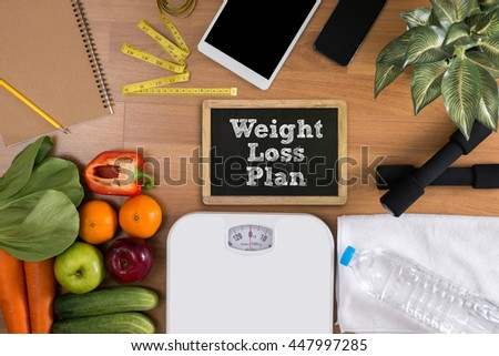 weight loss plan top view, fitness and weight loss concept, dumbbells, white scale, towels, fruit, Blank board copy space - stock photo