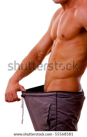 weight loss progress. - stock photo