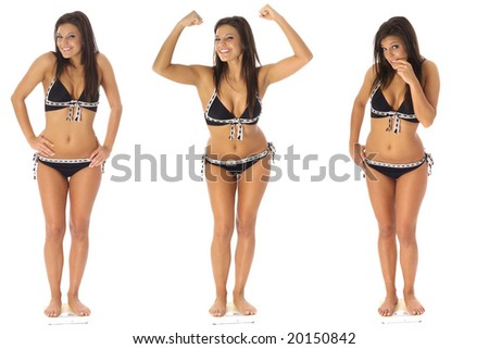 weight loss triplets - stock photo