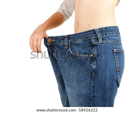 weight loss woman from ear-ring in navel - stock photo
