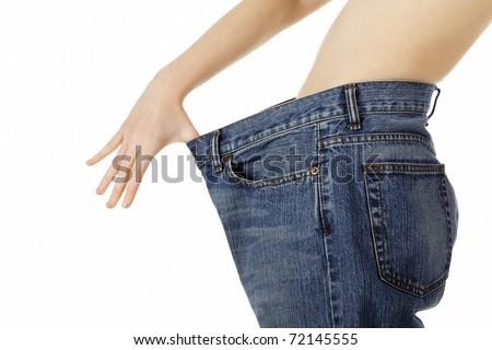 Weight loss woman, isolated on white background - stock photo