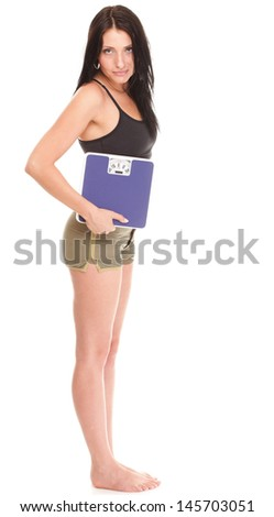 Weight loss woman on scale happy scales over white