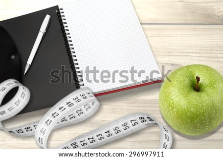 Weight, plan, pill. - stock photo