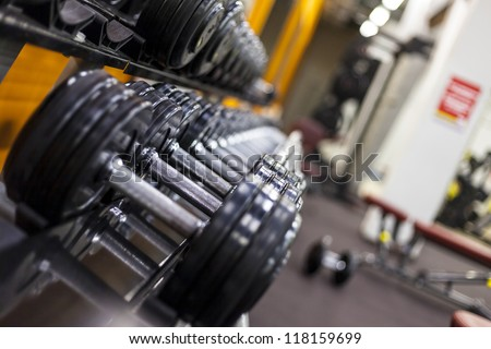 Weight Rack. Gym weights. Dumbbells. Sport lifestyle - stock photo