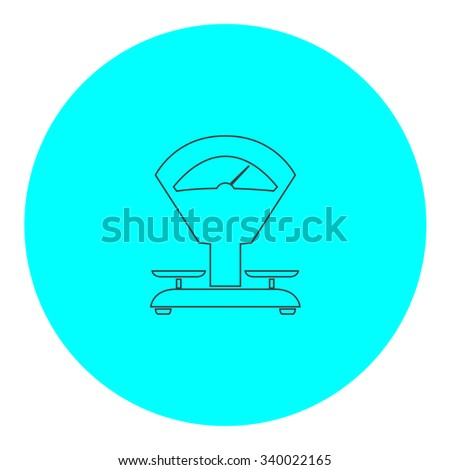 Weight Scale. Black outline flat symbol on blue circle. Simple illustration pictograh on white background - stock photo