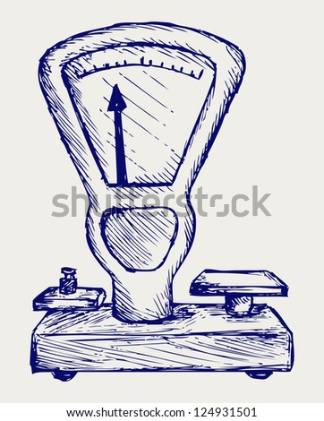 Weight scale. Doodle style. Raster version