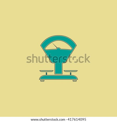 Weight Scale. Grren simple flat symbol with black stroke over yellow background - stock photo