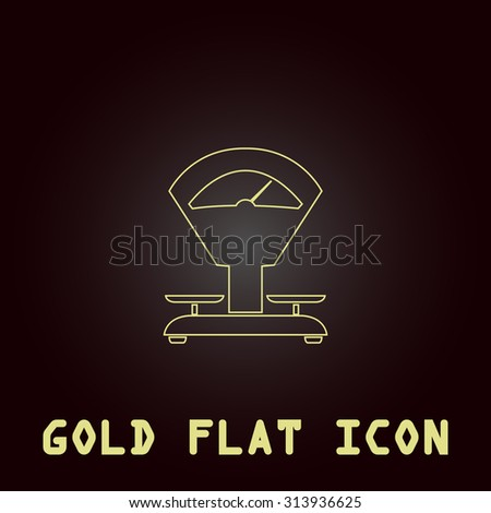 Weight Scale. Outline gold flat pictogram on dark background with simple text. Illustration trend icon - stock photo
