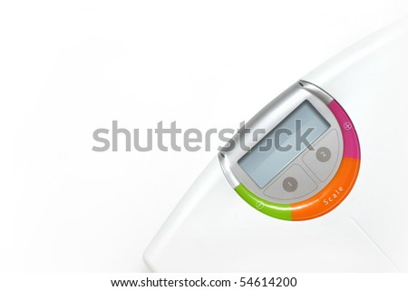 weight scale over white background - stock photo