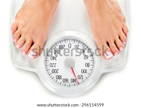 Weight Scale, Overweight, Scale. - stock photo