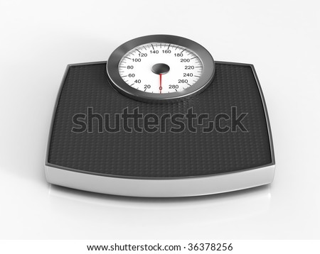 Weight scale rendering on white background - stock photo
