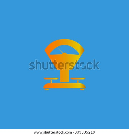 Weight Scale. Simple flat icon on blue background - stock photo