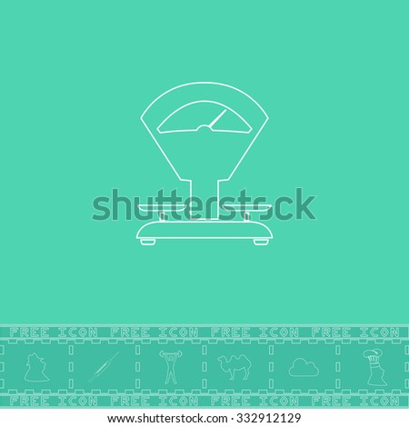Weight Scale. White outline flat icon and bonus symbol. Simple illustration pictogram on green background - stock photo