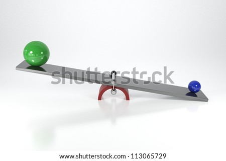 Weight Scale with Colored Balls - Isolated on Background - stock photo