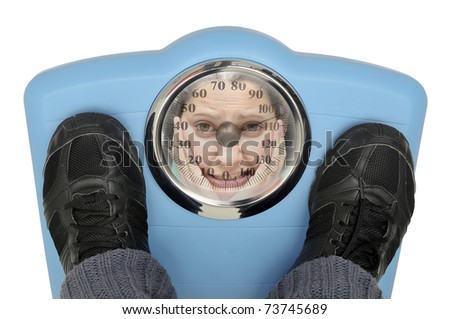Weight scale with desperate woman's face reflecting isolated in white - stock photo