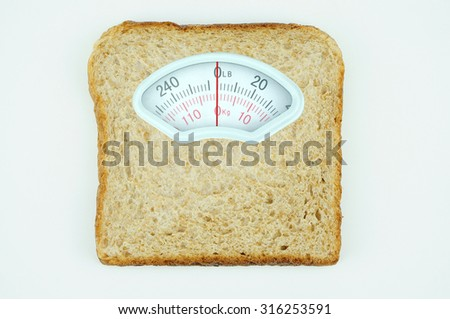 Weight scale with wholesome slice of bread isolated on white background - stock photo