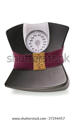 Weight Scales Slimming Down. - stock photo