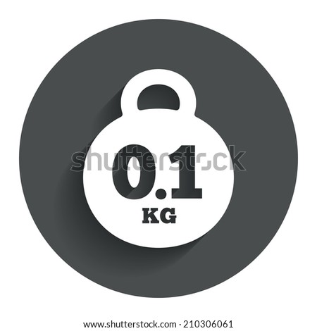 Weight sign icon. 0.1 kilogram (kg). Envelope mail weight. Circle flat button with shadow. Modern UI website navigation.