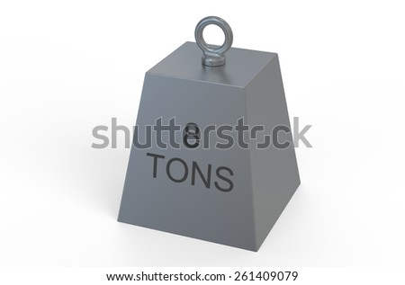 weight,  8 tons isolated on white background - stock photo