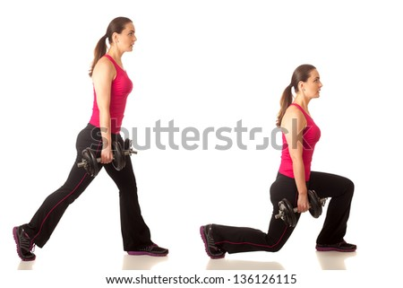 Weighted lunge exercise. Studio shot over white. - stock photo
