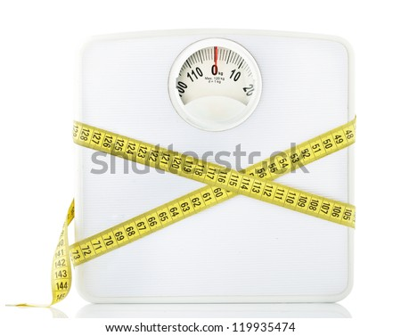 Weighting scales with a measuring tape