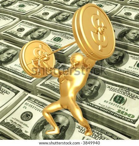 Weightlifting Gold Coins - stock photo