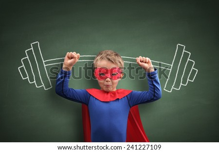 Weightlifting superhero boy concept for aspirations, achievement, exercising and fitness - stock photo