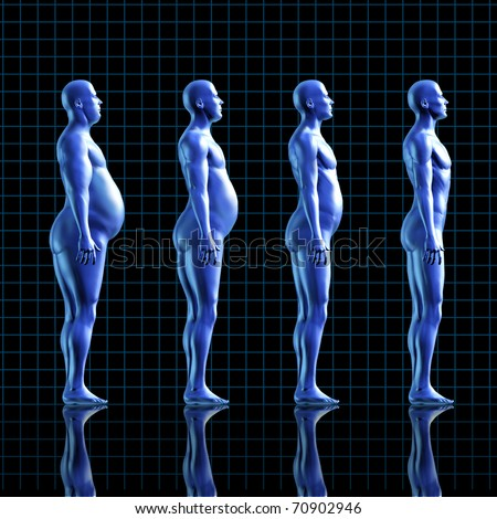 weightloss calories loss health fitness diet exercise medical health healthy arrow transformation blue human symbol fat - stock photo