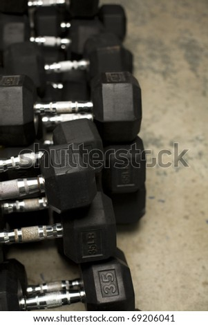 weights at the gym - stock photo