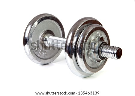 Weights (dumbbell) isolated over white background - stock photo