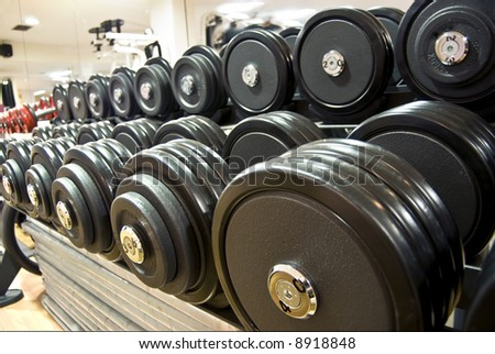 weights, dumbbells in the gym - stock photo