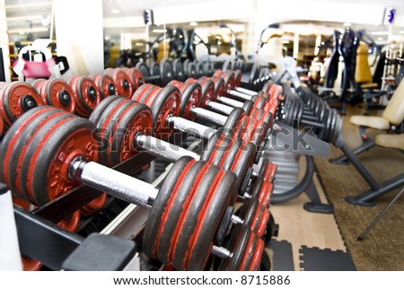 weights, dumbells in the gym - stock photo