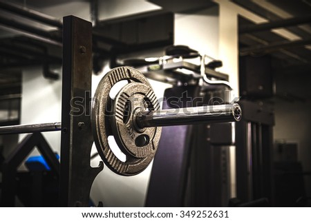 Weights in a Gym. Gym interior close up, machinery and weightlifting equipment.