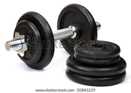 Weights, isolated on white background close up - stock photo