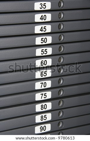Weights on finess machine. - stock photo