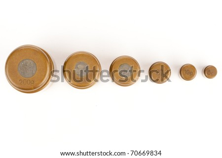 Weights. Top view - stock photo
