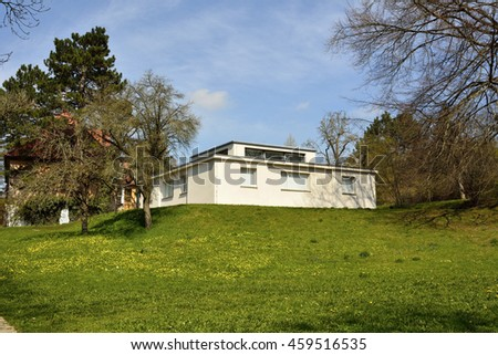 WEIMAR, GERMANY - APRIL 12, 2016. Haus am Horn building in Weimar, with grass lawn. Haus am Horn is the only truly Bauhaus building in Weimar.