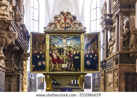 WEIMAR, GERMANY - DEC 19, 2015: Church St. Peter and Paul with famous altar in Weimar, Thuringia, Germany. The winged altar was created in 1552 by Lucas Cranach .