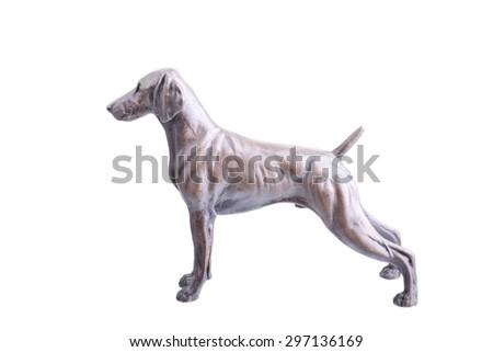 Weimaraner figurine isolated on a white background - stock photo