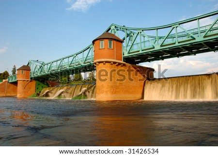 Weir on Odra river, Wroclaw, Poland