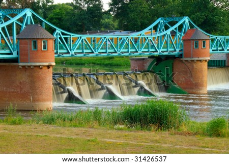 Weir on Odra river, Wroclaw, Poland - stock photo