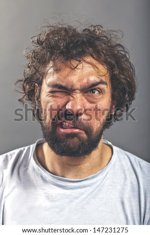 Weird and crazy guy - stock photo