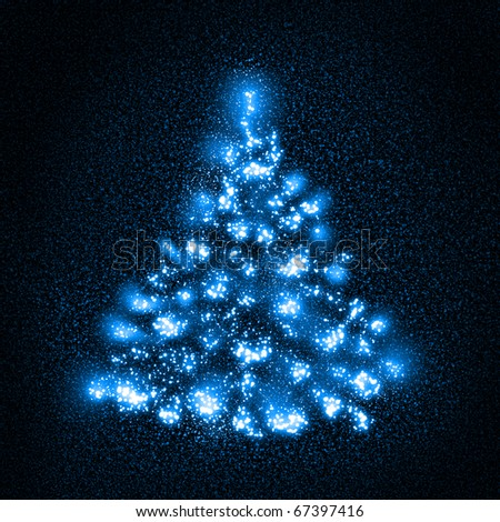 Weird Christmas tree composed of stars - stock photo