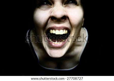 Weird creepy woman - stock photo