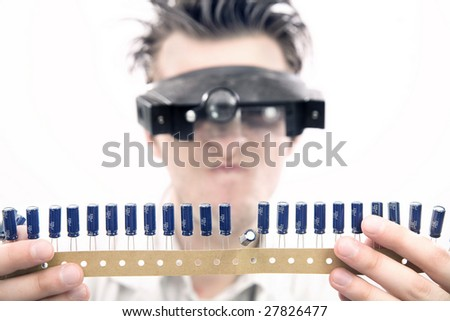 Weird looking scientist - stock photo
